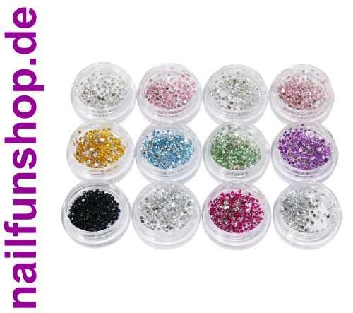 2600 Strasssteine in Sortierbox - 12 Döschen - verschiedene schöne Farben