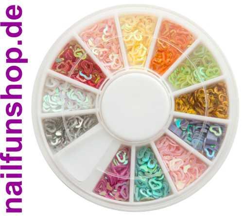 Nailart Herzen (ausgestanzt) - 1 Rondell mit ca. 500 Stück in 12 schönen Farben