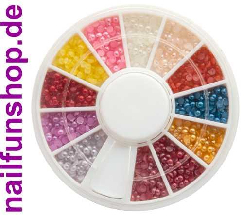 1 Rondell mit ca. 300 Nailart Perlen (flache Rückseite) in verschiedenen Farben