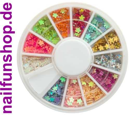1 Rondell mit ca. 500 Nailart Blümchen in verschiedenen Farben