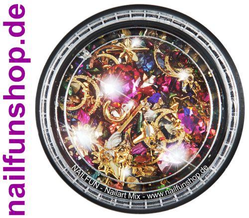 1 Döschen Nailart Mix (5003) -  Einleger Overlay Strass Perlen Charms Inlays
