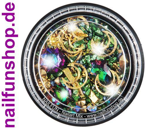 1 Döschen Nailart Mix (5004) -  Einleger Overlay Strass Perlen Charms Inlays