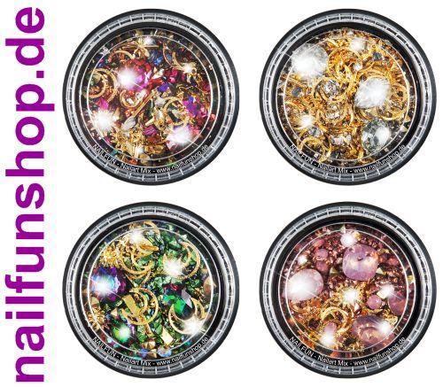 4 Stück Set Döschen Nailart Mix (5100) - Einleger Overlay Strass Perlen Charms