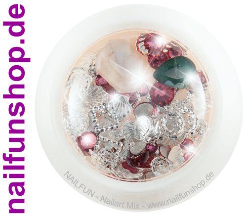 1 Döschen Nailart Mix (4006) -  Einleger Overlay Strass Perlen Charms