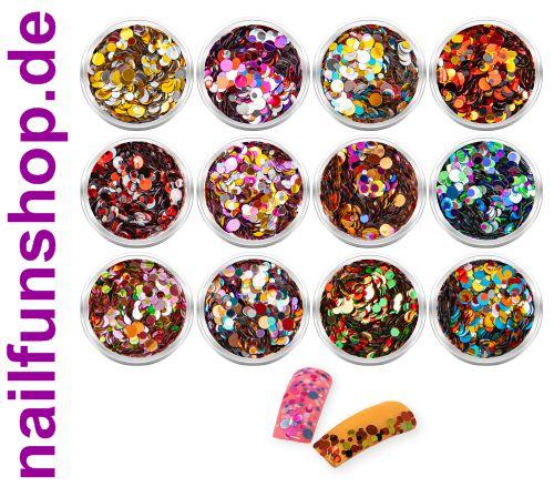 12 Döschen Nailart Pailletten rund Metallic im Set - farblich sortiert