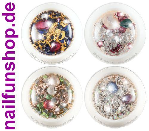 4 Stück Set Döschen Nailart Mix (4100) - Einleger Overlay Strass Perlen Charms