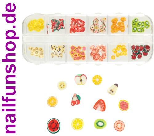 ca. 240 Fimo Scheiben Früchte Obst in Sortierbox - 12 verschiedene Designs