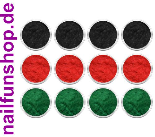 12 Döschen Nailart Samtpuder [ je 4x schwarz, rot, grün ]