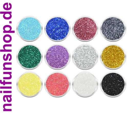 12 Döschen Nailart Glitzerpuder [SET 2] Glimmer Glitter Glitterstaub div. Farben