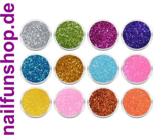 12 Döschen Nailart Glitzerpuder [SET 1] Glimmer Glitter Glitterstaub div. Farben