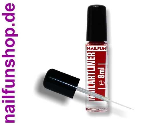 Nailartliner 10 rot 8ml mit langem dünnen Pinsel in Glasflasche