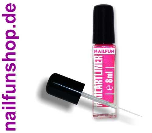 Nailartliner 16 pink glitter 8ml mit langem dünnen Pinsel in Glasflasche