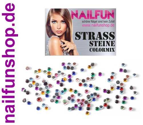 1 Packung NAILFUN Strass Steine Colormix rund 1,5mm