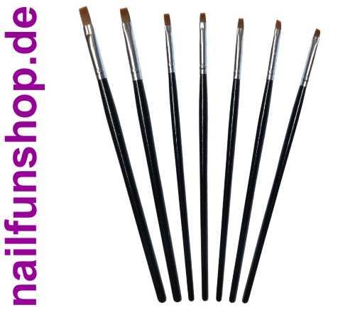 NAILFUN 7-teiliges Echthaar Pinselset - 7 Gelpinsel in verschiedenen Formen und Größen