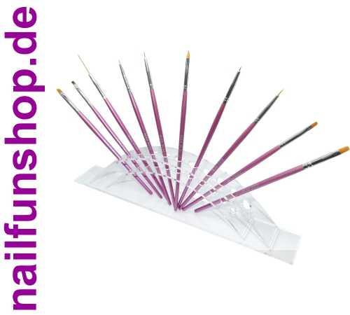 SET - 10-teiliges Pinselset pink + Pinselständer