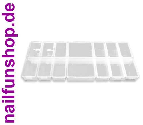 Multi-Sortierbox gross (leer) mit 14 Klappdeckeln - transparent