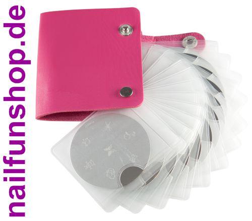 12 x KONAD Stamping Schablone + Aufbewahrungstasche Mäppchen in pink