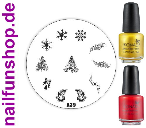 Konad XMAS Stampinglack gold + rot je 5ml + Stamping Schablone Weihnachten A39