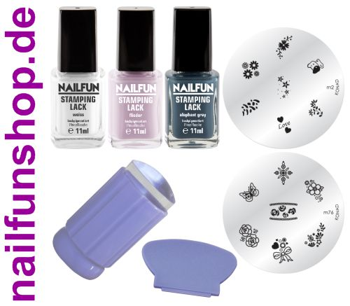 Stamping Set CHARMING COLORS mit Clear Jelly Stamper + 2 Schablonen + 3 Lacken