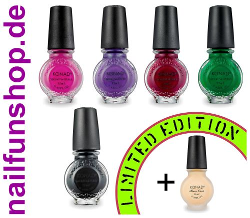 Konad Stampinglack Limited Edition Set [5x 11ml] + Base-Coat Gratis [1x 11ml]