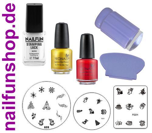 Stamping Set Weihnachten 3x Stampinglack + 3 Stamping Schablonen + Jelly Stamper