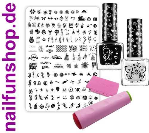 Weihnachten Nailart Stamping XL-Set [inkl. 2x KONAD Lack, Schablone, Stempel)