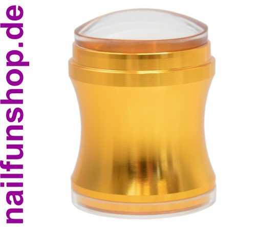 BIG Clear Jelly Stamper ALU gold inkl. Scrapper und Kissen-Abdeckung