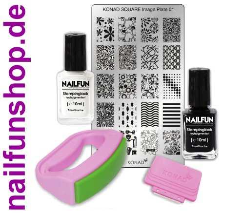 KONAD Fancy Stamping Set 01 inkl. 2x NAILFUN Stampinglack