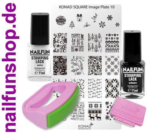 KONAD Fancy Stamping Set 10 inkl. 2x NAILFUN Stampinglack