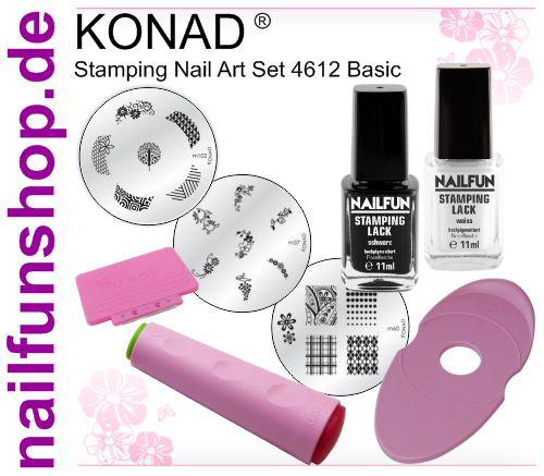 Konad Stamping Set 4612 - 8-teilig - Stempel, 3 Schablonen, 2x Lack, Halter