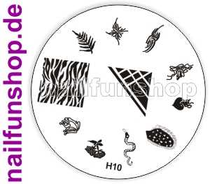 Stamping Schablone H10 - Schlange Frosch Herz Ornamente French Fullcover u.a.