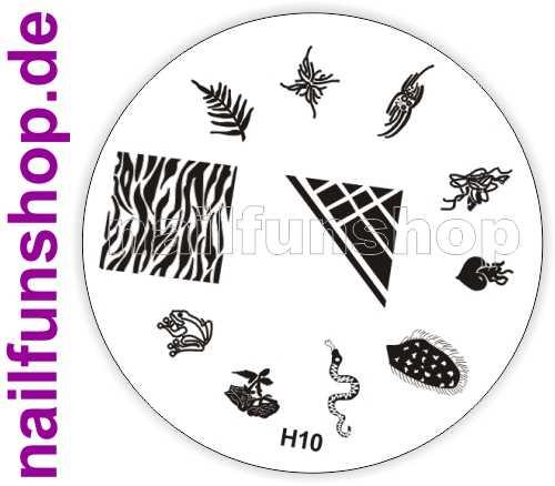 Stamping Schablone H10 - Schlange Frosch Herz Ornamente French Fullcover u.a.