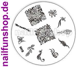 Stamping Schablone H19 - Schmetterling Schleifen Ornamente Fullcover u.a.