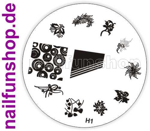 NAILFUN Profi Stamping Schablone H1 - traumhaft schöne Stamping Motive
