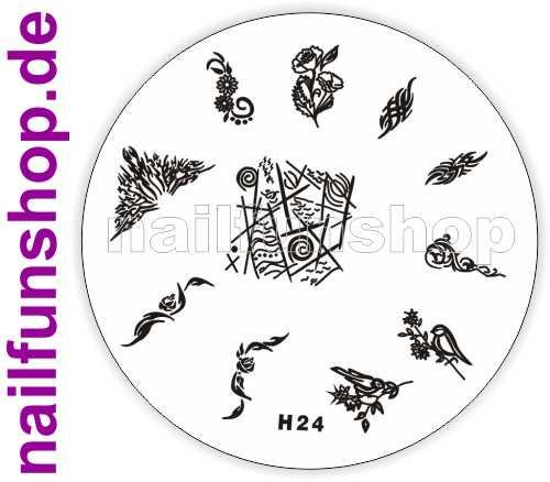 Stamping Schablone H24 - Ornamente Rose Blumen Fullcover French u.a.