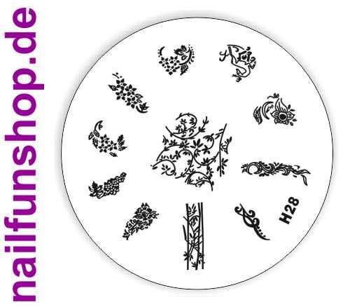 Stamping Schablone H28 - Blümchen Blumen Ranken
