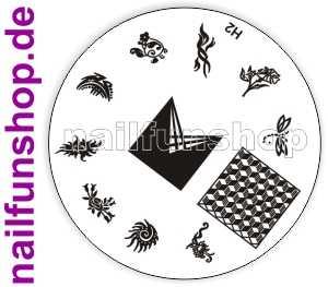 Stamping Schablone H2 - Blumen Herzen Ornamente French Fullcover u.a.