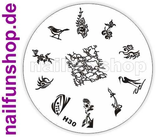 Stamping Schablone H30 - Vogel Herzchen Ornamente Fullcover u.a.