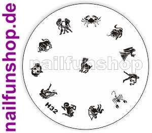 Stamping Schablone H32 - alle 12 Sternzeichen