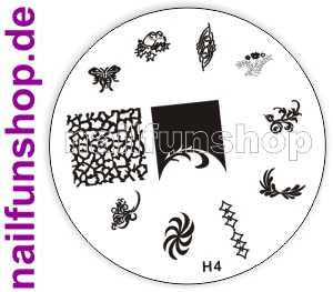 Stamping Schablone H4 - Schmetterling Haselnüsse Ornamente French Fullcover u.a.