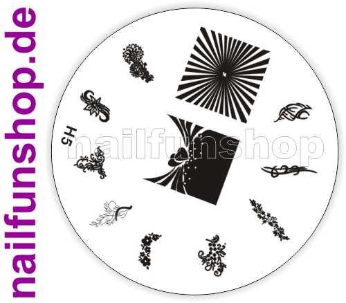NAILFUN Profi Stamping Schablone H5 - traumhaft schöne Stamping Motive