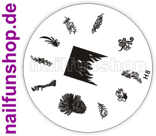 NAILFUN Profi Stamping Schablone H8 - traumhaft schöne Stamping Motive