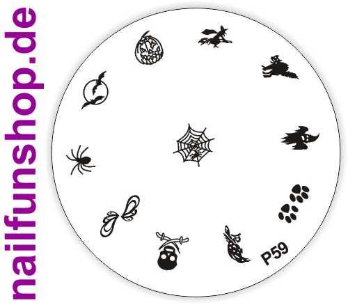 Stamping Schablone P59 - Halloween Spinne Kürbis Tatzen Fledermaus u.a.