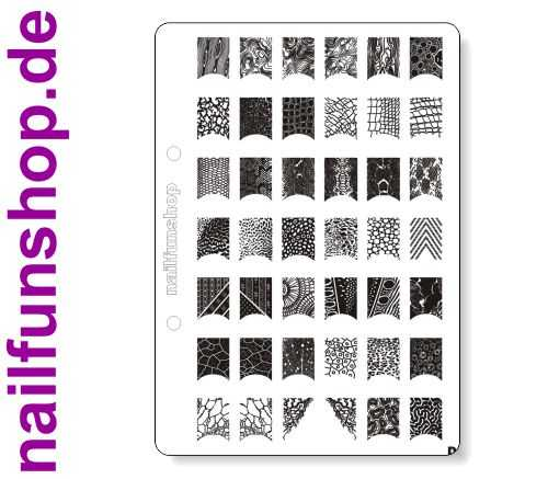 NAILFUN XL Stamping Schablone D DIN A5 Stamping-Schablone D