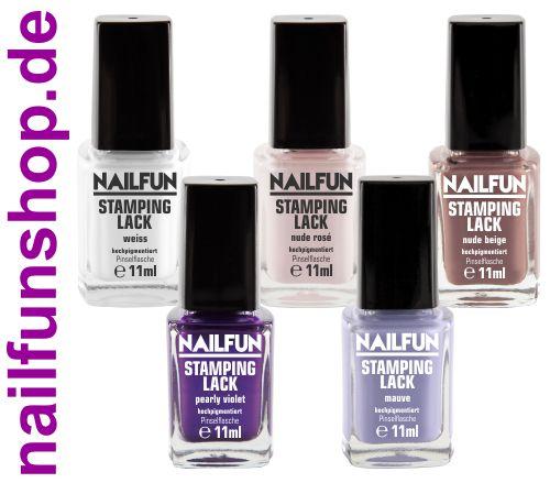 5er Set Stampinglack weiss + nude rose + violet + nude beige + mauve [5x 11ml]