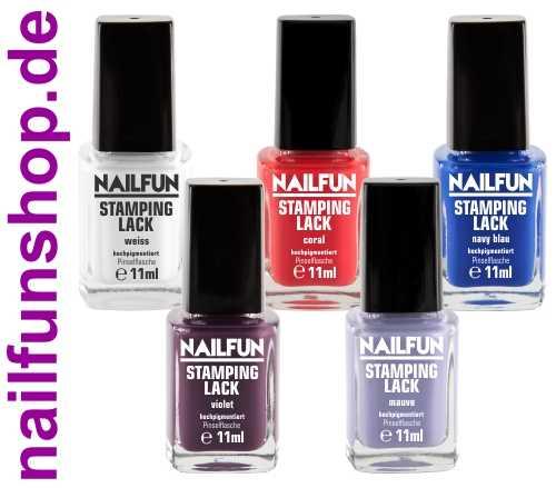 5er Set Stampinglack weiss + coral + violet + navy-blau + mauve [5x 11ml]