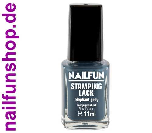 NAILFUN Stampinglack Elephant Gray 11ml in der Glas Pinselflasche