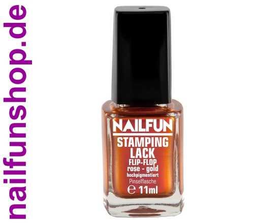 NAILFUN Stampinglack Flip Flop Rose Gold 11ml in der Glas Pinselflasche