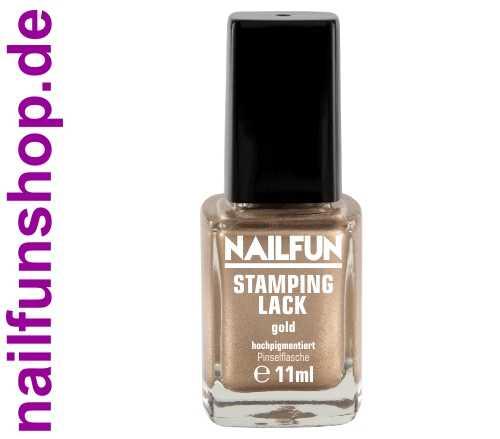 NAILFUN Stampinglack Gold 11ml in der Glas Pinselflasche