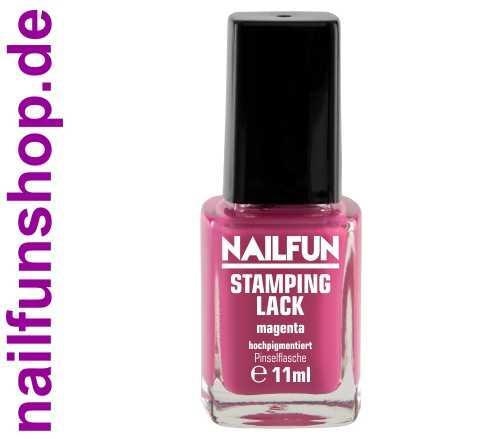 NAILFUN Stampinglack Magenta 11ml in der Glas Pinselflasche